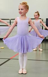 girl ballerina in dance class wearing tutu
