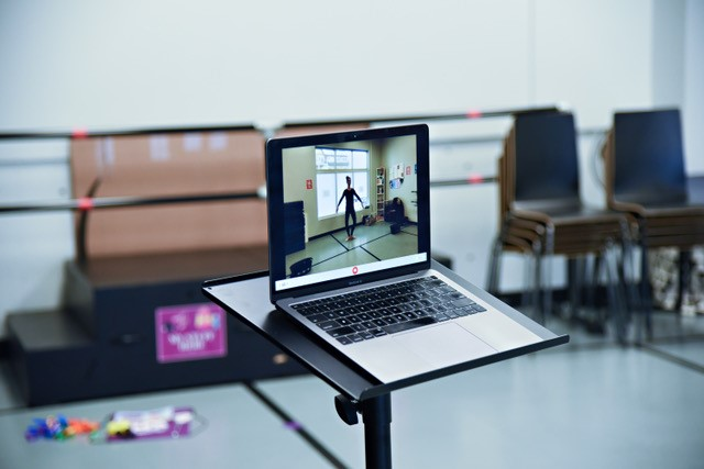 laptop in dance class used for online classes